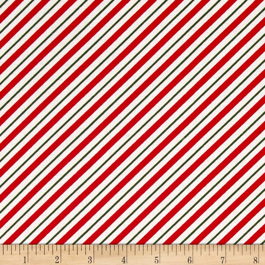 Owl Christmas Diagonal Stripe White