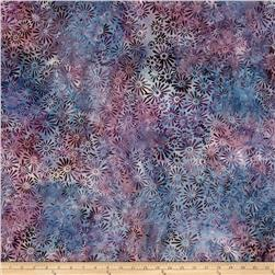 "106"" Wide Batavian Batik Quilt Back Flower & Leaves Purple"