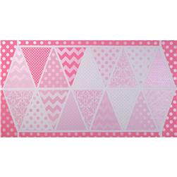 Riley Blake Hollywood Sparkle Banner Panel Shimmer Hot Pink