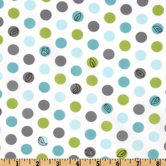 Michael Miller Backyard Baby Lotsa Dots White Fabric