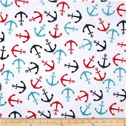 Shannon Minky Cuddle Prints Anchors Teal/Scarlet