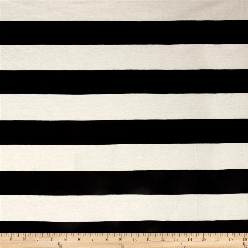 Poly/Cotton Jersey Knit 2'' Stripe Black/Ivory Fabric By The Yard