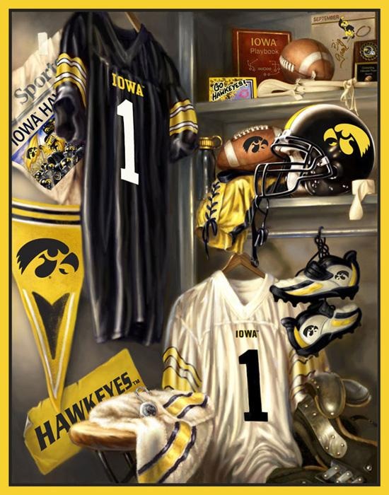 Collegiate Locker Room Fleece Panel Univeristy of Iowa