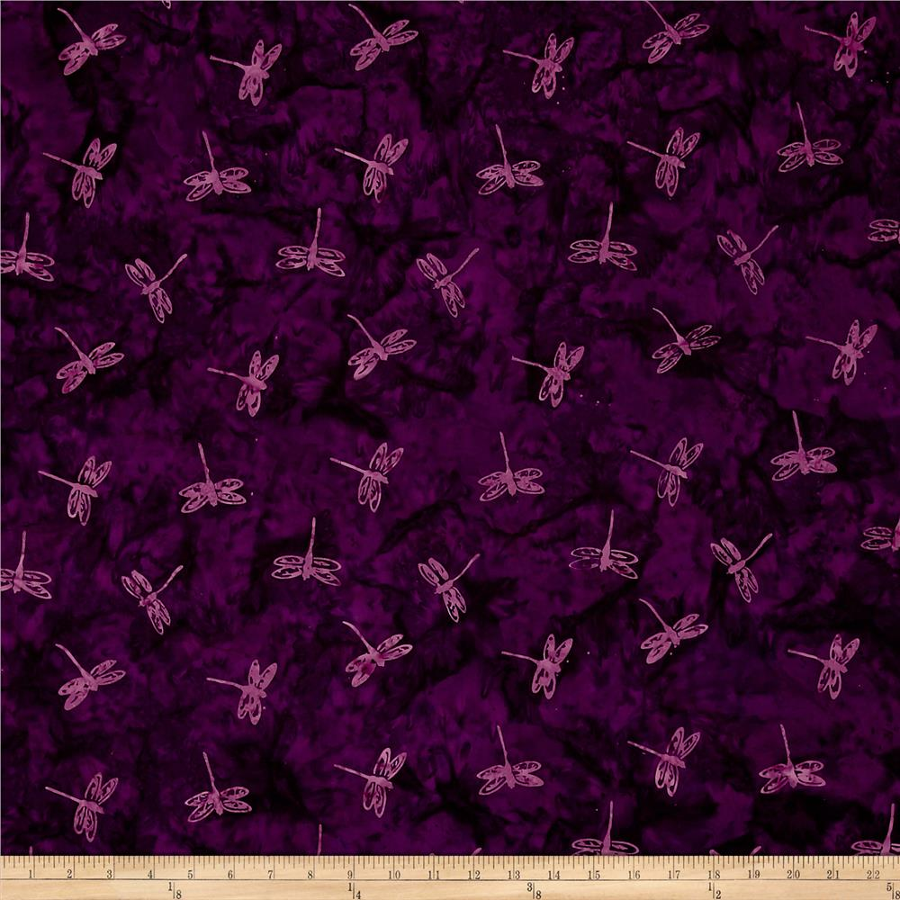 Primo Batiks Red Sky Dragonfly Purple