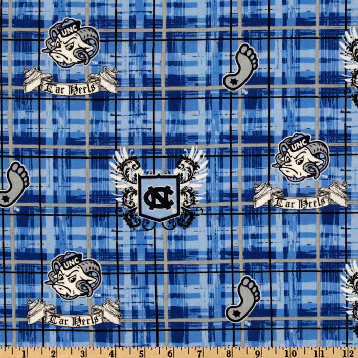 Collegiate Cotton Broadcloth University of North Carolina Plaid Blue