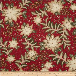 Moda Merriment Poinsetta & Holly Red