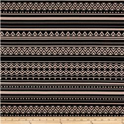 Stretch ITY Jersey Knit Tribal Abstract Black/Taupe Fabric