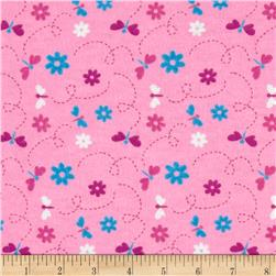 Flannel Dragonflies Pink Fabric