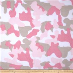 Printed Fleece Camo Pink/Mist Fabric