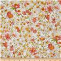 Kaufman London Calling Lawn Watercolor Floral Peach