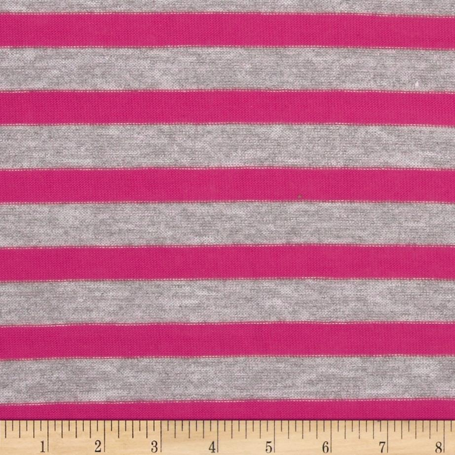 Stretch Yarn Dyed Hatchi Knit Stripes Grey/Pink