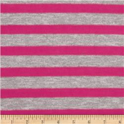 Stretch Yarn Dyed Hatchi Knit Stripes Grey/Pink Fabric