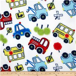 Plush Coral Fleece Tossed Cars White Fabric
