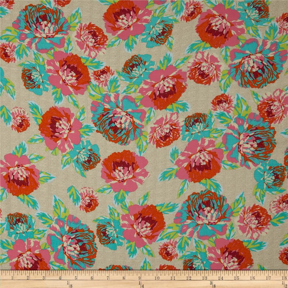 Designer Rayon Floral Pink/Orange