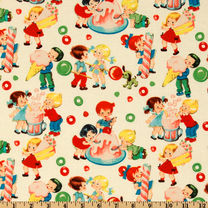 1950s House Dresses and Aprons History Michael Miller Retro Candy Shop Cream Fabric By The Yard $10.99 AT vintagedancer.com