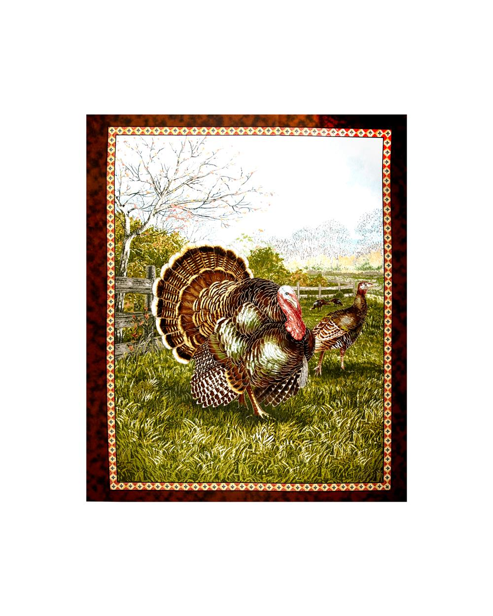 Bountiful Blessings Turkey 34 In. Panel Green