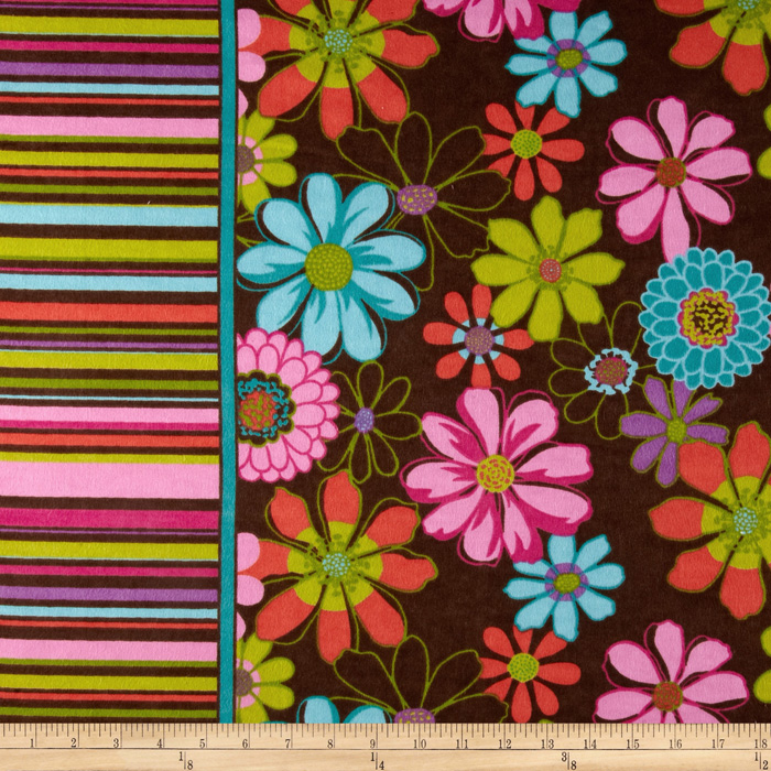 Serenity Flannel Floral Stripes Brown Fabric