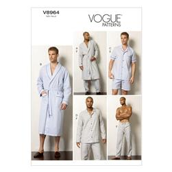 Vogue Men's Robe, Top, Shorts and Pants Pattern V8964 Size MUU