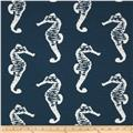 Premier Prints Sea Horse Slub Navy