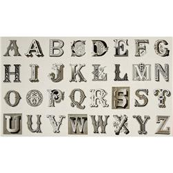 Letter Stitch Large Antique Typography Cream