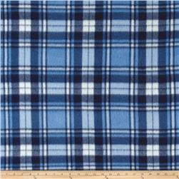 Polar Fleece Print Herringbone Plaid Blue