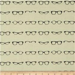 Riley Blake Geekly Chic Glasses Off White