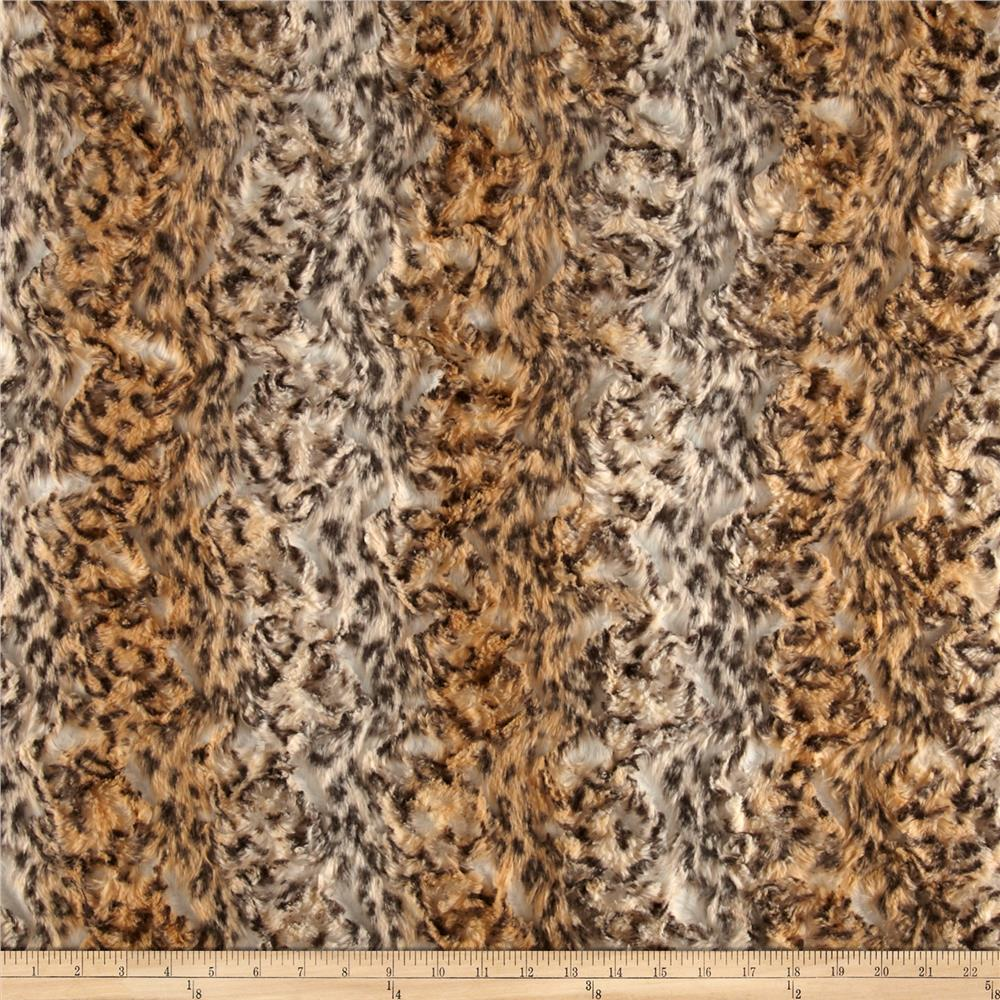 Luxury Faux Fur Snow Leopard Fur Camel/Cream/Black