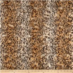 Luxury Faux Fur Snow Leopard Fur Camel/Cream/Black Fabric