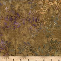"Timeless Treasures 106"" Batik Quilt Back Bean Stalk Ginger"