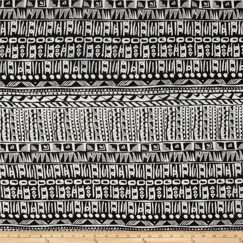 Stretch Rayon Jersey Knit Abstract Aztec Black/White