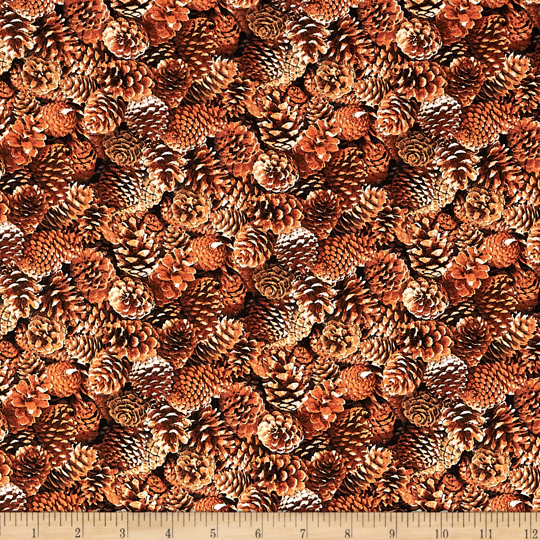 North American Wildlife Pinecones Brown Fabric