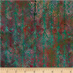 Bali Batiks Herringbone Green/Purple