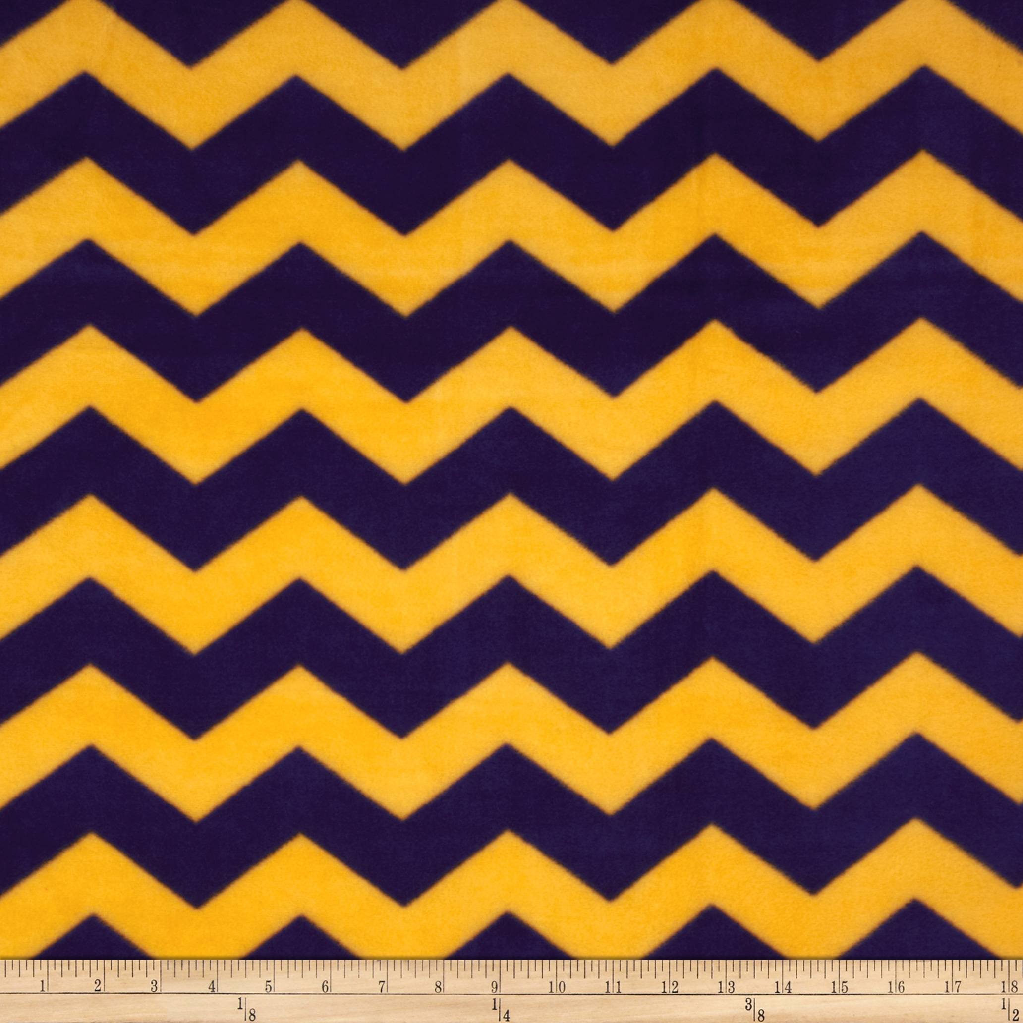 Chevron Fleece Purple/Yellow Fabric