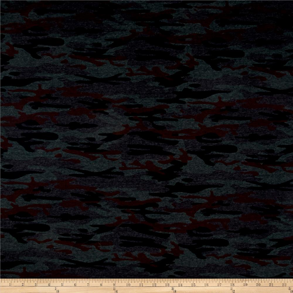 T-shirt Jersey Knit Camouflage Charcoal Grey/Black/Burgundy Fabric