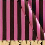 Satin Charmeuse Stripe Brown/Hot Pink