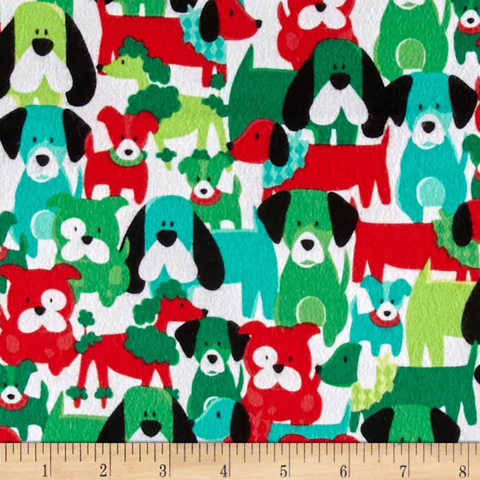 Michael Miller Yule Dogs Flannel Dog Dang It Hollyberry Fabric