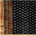 Pleated Bodre Knit Border Print Medallion Black/Amber