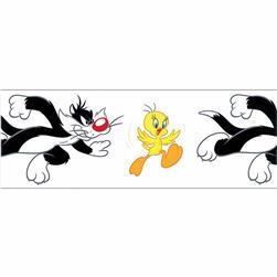 "7/8"" Looney Tunes Tweety & Sylvester Ribbon White"