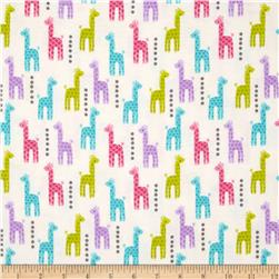 Michael Miller Baby Flannel Zoo Littles -It's a Girl Thing Giraffe