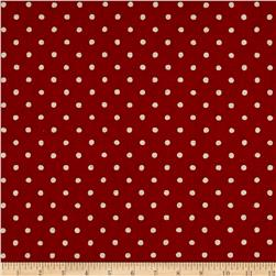 Kaufman Sevenberry Canvas Natural Dots Small Red