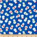 Timeless Treasures Christmas Flannels Mini Snowmen Blue