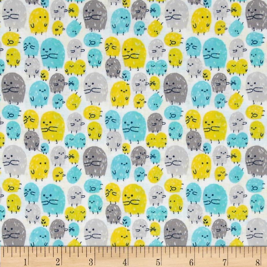 Cloud 9 organic moon patrol aliens turquoise discount for Alien print fabric