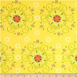 Mystic Forest Flannel Floral Flourish Yellow