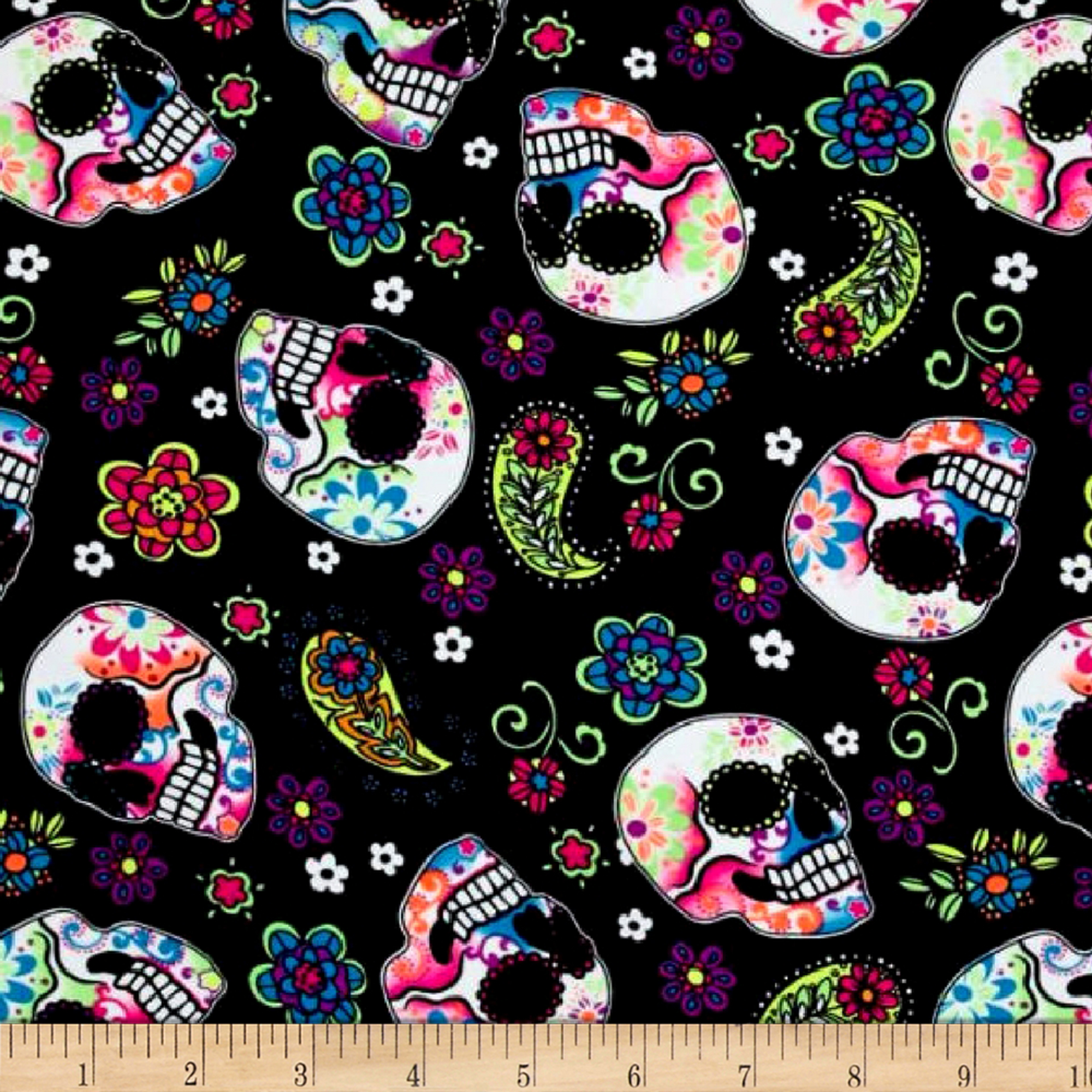 Pine Crest Fabrics Sugar Skulls Athletic Knit Black and Green Neon 0586141