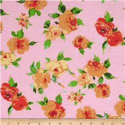 Stretch Designer Knit Flowers Gold/Pink