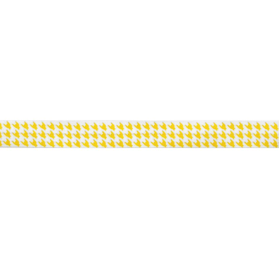 "5/8"" Fold Over Elastic Houndstooth Bright Yellow"