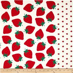 Kokka Trefle Strawberry Canvas Border Cream