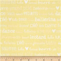 Tutu Cute Ballet Words Yellow