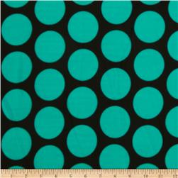 Stretch ITY Jersey Knit Large Dot Aqua/Black