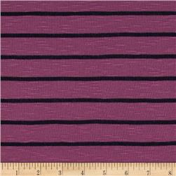 Designer Jersey Knit Stripes Raspberry/Black